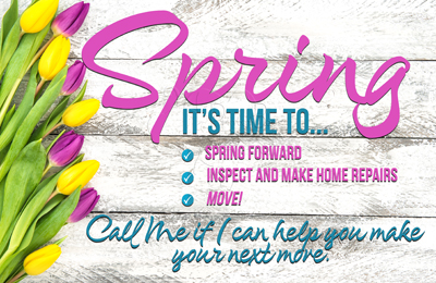 Spring forward postcards real estate marketing