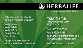 Herbalife Business Cards - Free Shipping and Design | No ...